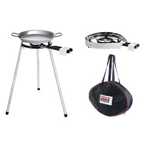 PAELLA WORLD Light-Set 2 gross, 2-Ring, 9.0 kW, 30 mbar, 375 g/h, 35 cm, 75-80 cm, 40 kg, 1x Pfanne Stahl; poliert; 46 cm/Tasche