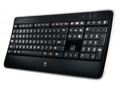 LOGITECH K800 Wireless Illuminated Keyboard, 2.4 GHz, Unifying, USB, Akku