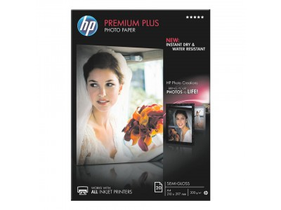 HP Premium Plus Photo Paper, Seidenmattfotopapier, A4, 300 g/m2, 20 Stk.
