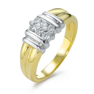 Fingerring 750/18 K Gelbgold Diamant 6, 0,33ct, bicolor